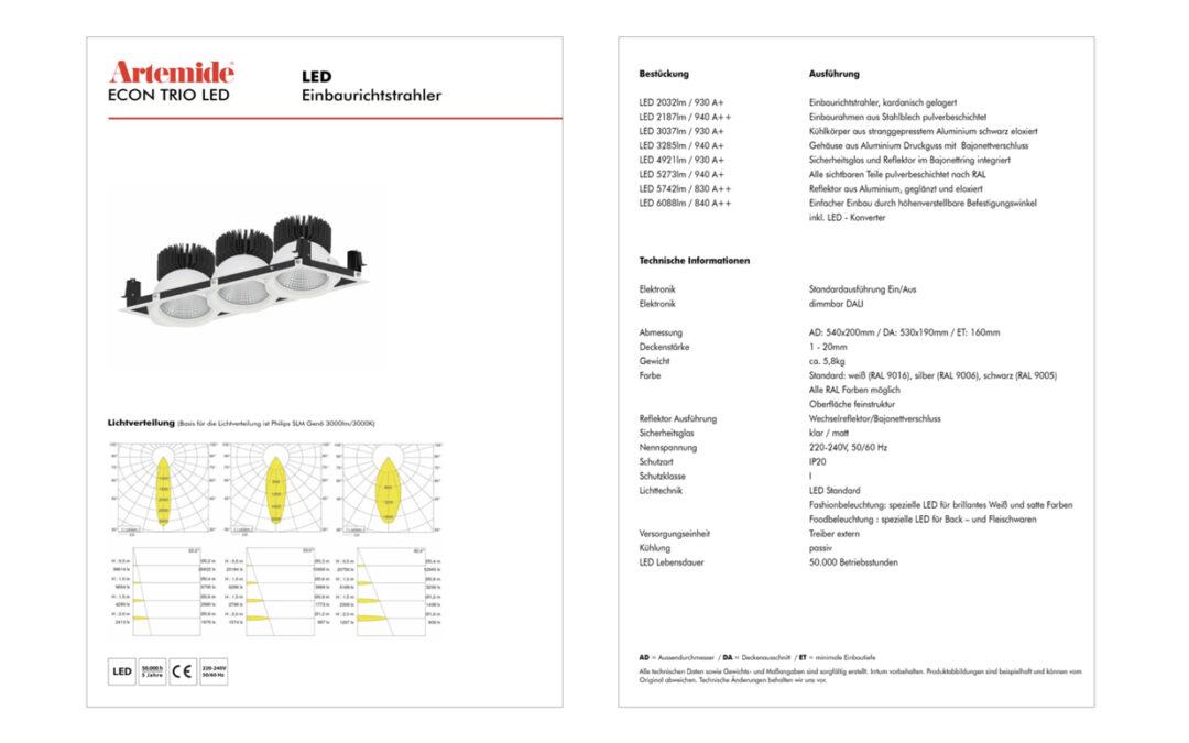 Produktdatenblatt Gestaltung